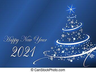 Happy new year 2021 greeting card with christmas tree on blue background