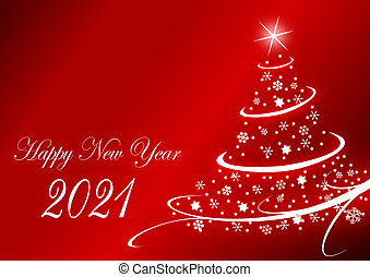 Happy new year 2021 greeting card with christmas tree on red background