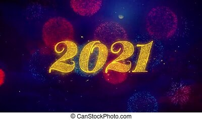 Happy New Year 2021 Greeting Text Sparkle Particles on...