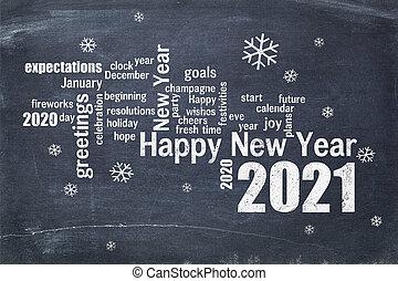 Happy New Year 2021 on blackboard
