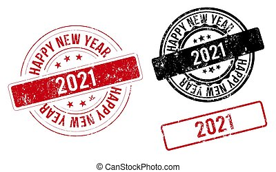 happy new year 2021 red stamp. new year 2021. two thousand and twenty