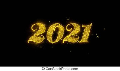 Happy New Year 2021 Typography Written with Golden Particles...