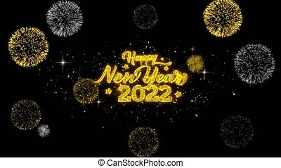 Happy New Year 2022 Golden Text Blinking Particles with...