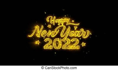 Happy New Year 2022 Typography Written with Golden Particles...