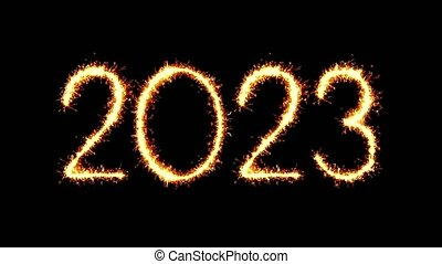 Happy New Year 2023 Text Sparkler Glitter Sparks Firework...