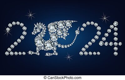 Happy new year 2024 creative greeting card with Dragon made up a lot of diamonds
