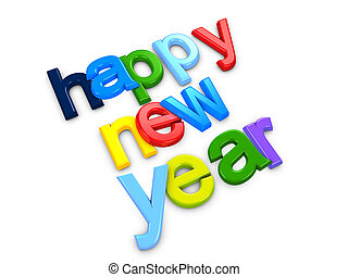 Happy new year - 3d image, conceptual colorful new year text