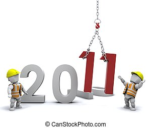 Happy New Year! - 3D render depicting Bringing the new year...