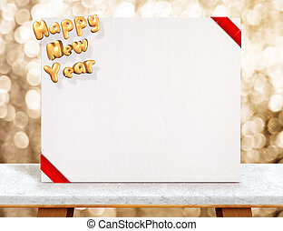 Happy new year (3d rendering) on white poster with red ribbon on marble table at gold sparkling bokeh background, Leave space for display or montage of your design.