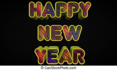 Happy New Year 3D Shiny And Colorful Text