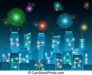 Happy new year alphabet buildings at night