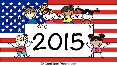Happy new year American flag