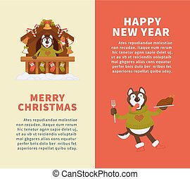 Happy New Year and Merry Christmas posters with Husky