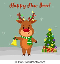 Happy New Year and Merry Christmas Greeting Card. Cute deer in a scarf and garland on the horns. Christmas tree, winter and snowflakes. Cartoon style. Vector
