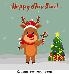 Happy New Year and Merry Christmas Greeting Card. Cute deer in santa hat is holding a lollipop. Christmas tree, winter and snowflakes. Cartoon style. Vector
