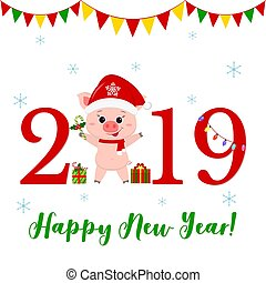 Happy New Year and Merry Christmas Greeting Card. Cute pig in santa claus hat and scarf holding lollipop. The symbol of the new year in the Chinese calendar. 2019. Vector