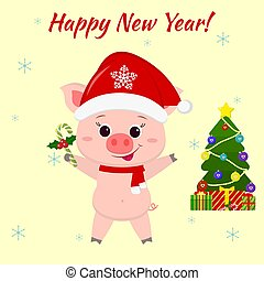 Happy New Year and Merry Christmas greeting card. Cute pig in santa claus hat and scarf holding lollipop. Christmas tree and boxes with gifts. Vector