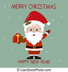Happy New Year and Merry Christmas greeting card. Cute Santa Claus in glasses holds a box with a winter gift on the background of snowflakes. Cartoon style, vector