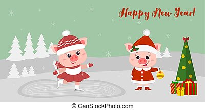 Happy New Year and Merry Christmas greeting card. Two cute pigs. One is riding on a skating rink, the other in Santa's costume is standing near the Christmas tree with presents. Vector