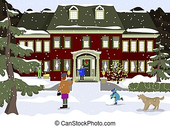 Happy new year and merry Christmas preparation. Winter fun. kids decorating a house. Winter holidays. Vector illustration. People decorating bir house.