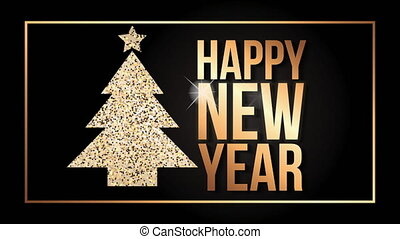 happy new year animation with pine tree