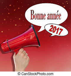 happy new year announcement - dictaphone on red background...
