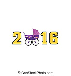 happy new year baby 2016 color vector