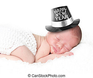 Happy New Year baby - Portrait of a newborn baby wearing a...