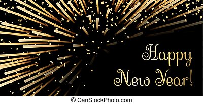 Happy New Year background. Gold abstract firework for card, greeting, Xmas celebrate banner, Light, glow, sparkle, glitter. Merry Christmas celebration design. Golden decoration Vector illustration