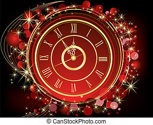 Happy New Year background red and gold