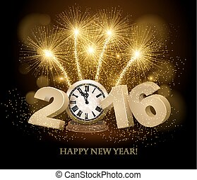 Happy New Year background with 2016, a clock and fireworks. Vector.