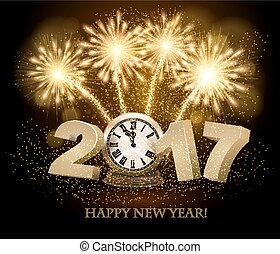 Happy New Year background with 2017, a clock and fireworks....