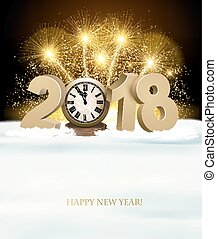 Happy New Year background with 2018, a clock and fireworks. Vector.