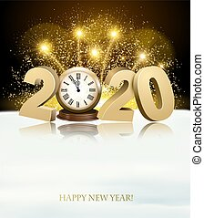 Happy New Year background with 2020 and fireworks. Vector.