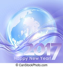 Happy New Year background with blue wave - 2017 Happy New...
