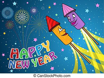Happy New Year Background with Cartoon Rockets