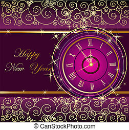 Happy New Year background with cloc