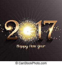 Happy New Year background with firework design - Gold Happy...