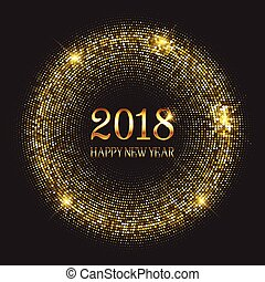 Happy New Year background with glittery gold circles