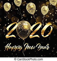 happy new year background with gold glittery balloons 0210