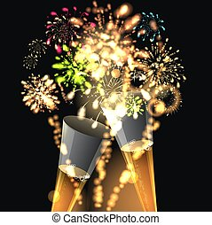 Happy new year background with golden fireworks