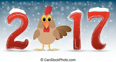 Happy New Year background with rooster.