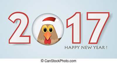 Happy New Year background with rooster. Vector illustration.