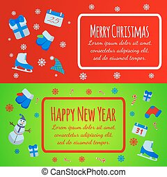 Happy New Year banner. Merry Christmas giftcard.Xmas poster with snowman, pine, skates, gift, mittens. Vector Illustration sign.