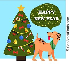 Happy New Year Banner of Beige Dog Showing Tongue