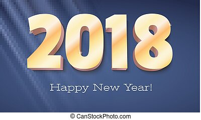 Happy New Year banner. Volumetric numbers 2018 from gold. Congratulation poster with rays of light on background. Greeting card, poster, brochure or flyer template. Vector 3D illustration.