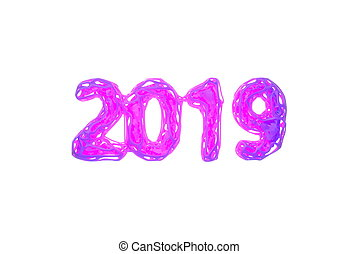Happy New Year Banner with 2019 Numbers made by bright pink wire and orange glowing lowpoly core inside isolated on pink Background with godrays light in fog, mist or smoke. abstract 3d illustration