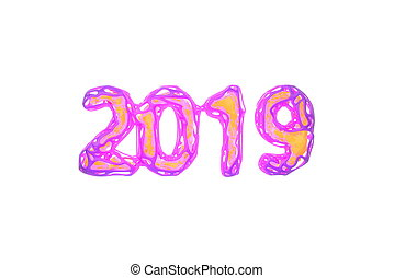Happy New Year Banner with 2019 Numbers made by bright pink wire and orange glowing lowpoly core inside isolated on white Background. abstract 3d illustration