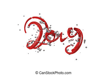 Happy New Year Banner with 2019 Numbers made by hitech mech red plastic and silver liquid splash cloud of around it isolated on white Background. abstract 3d illustration