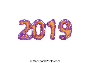 Happy New Year Banner with 2019 Numbers made by pink plastic wire and yellow core inside isolated on white Background with godrays light in fog, mist or smoke. abstract 3d illustration